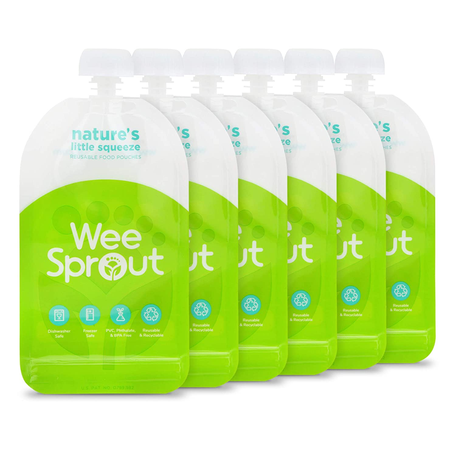 WeeSprout Double Zipper Reusable Food Pouches | 6 Pack 5 fl oz Size Pouches | Green