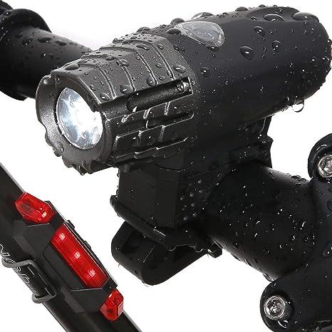 JVSISM Luz Trasera de Bicicleta Faro de Bicicleta - LED Intermitente Frontal Recargable USB de Ciclista de Noche Linterna de Bicicleta: Amazon.es: Deportes y aire libre