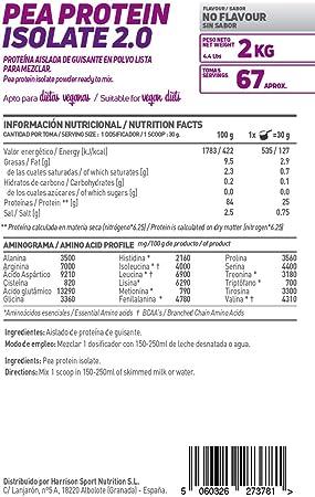 HSN Proteína de Guisante Aislada Vegan Protein | Pea Protein Isolate | Edulcorada con Estevia | Vegano, Sin Lactosa, Sin Gluten, Sin Azúcar, Sin Soja, ...