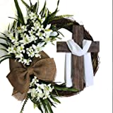 Easter Wreath with Cross Burlap Bow Rustic Grapevine Wreath Spring Decorating DIY Easter Front Door Wreath Decoration, Wreath