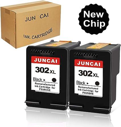 JUNCAI 302XL - Cartuchos de tinta reciclados para impresoras HP 302 Officejet 5230, 5220, 3831, 3833, 3830, 3832, 4650, 5252, 5255, Deskjet 1110, 2130, 3639, 3630, 3636, Envy 4525, 4520 (2 negros): Amazon.es: Oficina y papelería