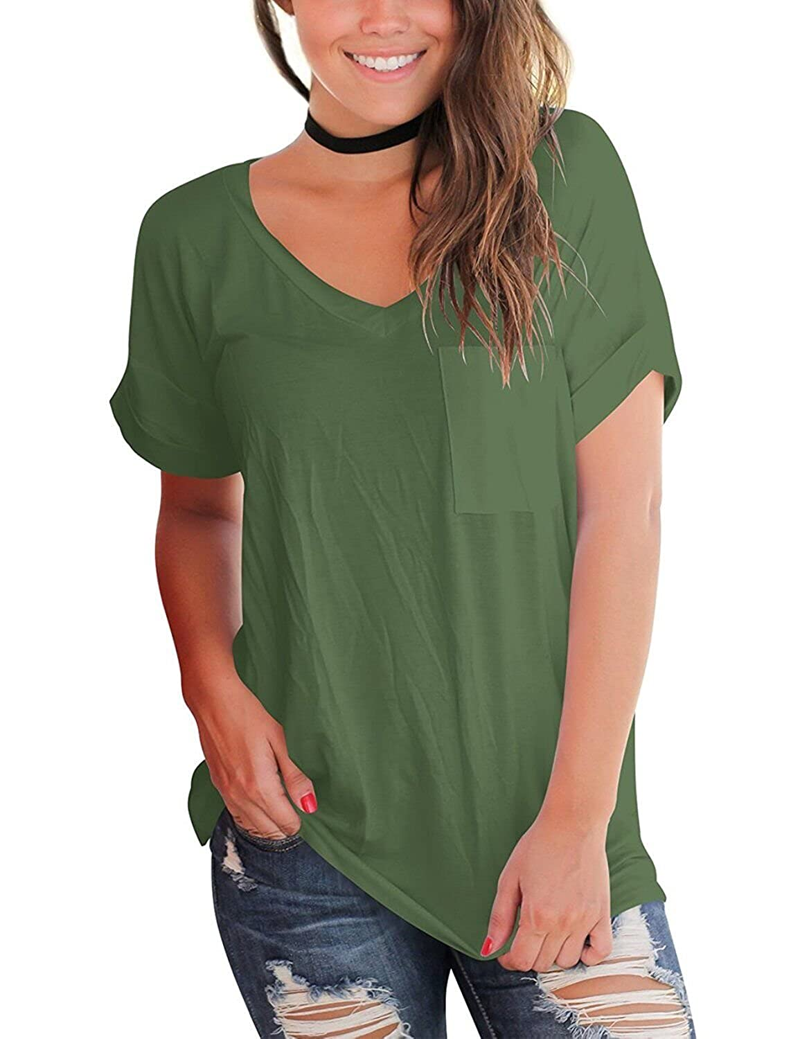 39fe12f710d960 Women s Short Sleeve V Neck T Shirts Casual Loose Plain Basic Tee Tops  Blouse Pocket