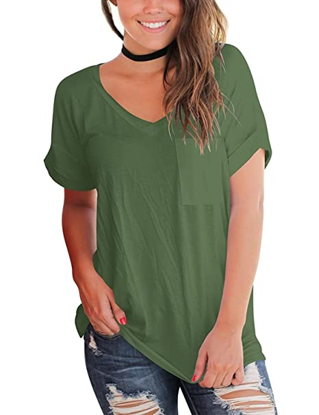 64c814c91e64 Women's Short Sleeve V Neck T Shirts Casual Loose Plain Basic Tee Tops  Blouse Pocket Army