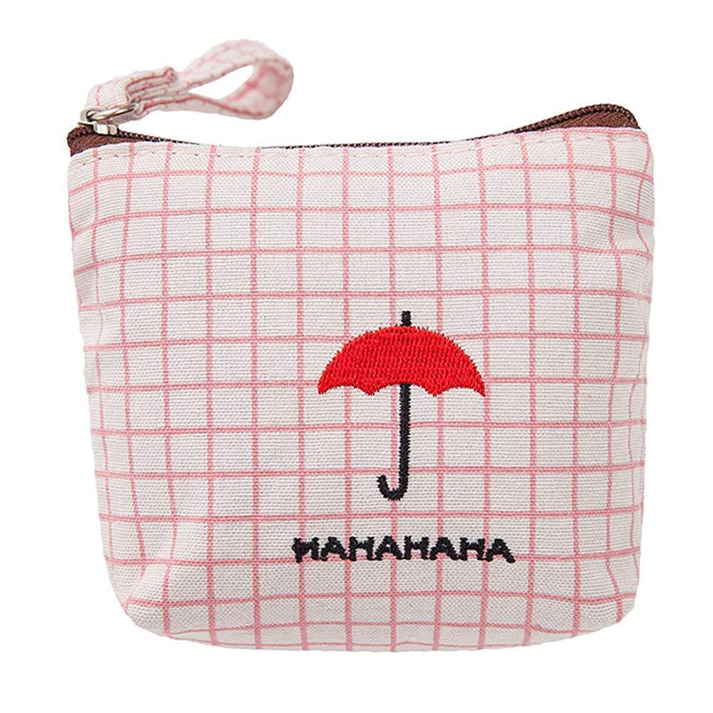 Cdet Monedero Tejidos de señora Bolsa de Moneda Monedero Key Handbag Bags Paraguas Rosa 8 * 12.5cm