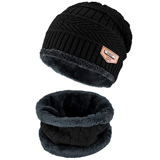 e6ff65a84d470a Beanie Hat Scarf Set Winter Warm Fleece Lined Skull Cap and Scarf For Men  Women (