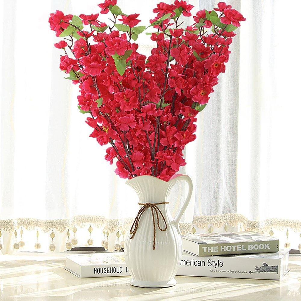 ADSRO人工花、人工Peach Blossom Branchシルクフラワーツリー装飾ブーケDIY Floral Arrangementアート母の日結婚ホームオフィスパーティーレストラン B07CCGX5BS