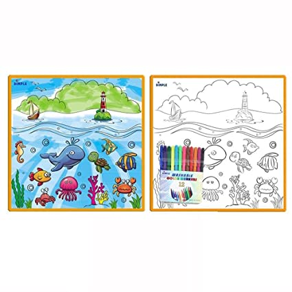 Large Washable Kids Coloring Play Mat With Fantastic Sea Life Design Along With 12 Washable Markers The Perfect Alternative For Coloring Books
