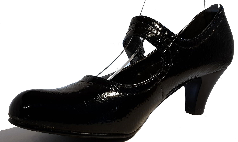 3-W-Hohenlimburg Schlicht-Elegante Stiletto Pumps Low Heels Mary Jane. Hochglanzoptik. Schwarz. Schlicht und Dezent, Damenschuhe, FLP107, Schuh für Damen, Hier  Schwarz.