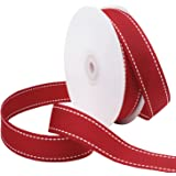 Laribbons 1 inch Wide Saddle Stitch Grosgrain Ribbon – 25 Yard (Red Grosgrain Ribbon with White Stitch)