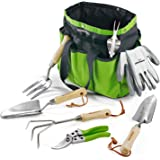 WORKPRO Garden Tools Set, 7 Piece, Stainless Steel Heavy Duty Gardening Tools with Wooden Handle, Including Garden Tote…
