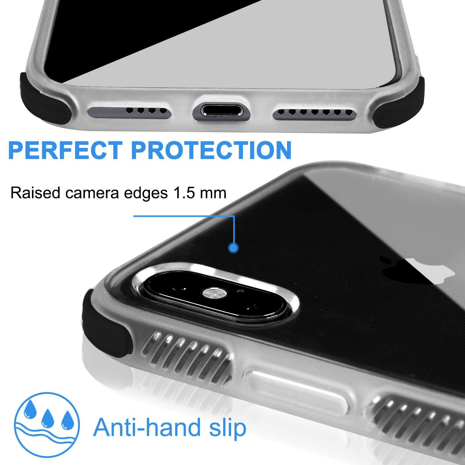 Voilamart iPhone X Case, iPhone Xs Case Crystal Clear Transparent Anti-Slick/Protective Case for iPhone X/Xs 5.8 Inch, Black