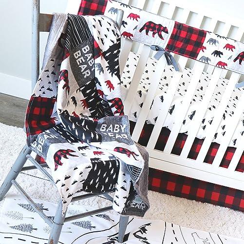Amazon Com Lumberjack Red Plaid 4 Piece Crib Bedding Set Handmade