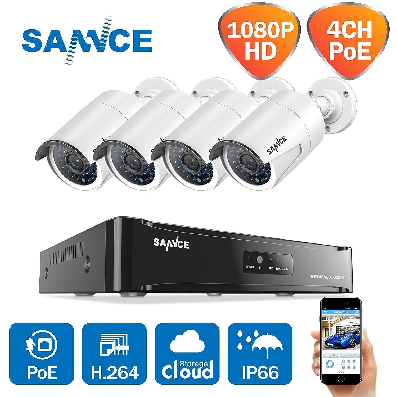 SANNCE Kit de 4 Cámaras de Vigilancia Seguridad 1920 x 1080P CCTV NVR P2P 4CH 1080P y 4 Camaras 2MP IP66 Impermeable IR-Cut HDMI 36 LEDs No Disco Duro ...