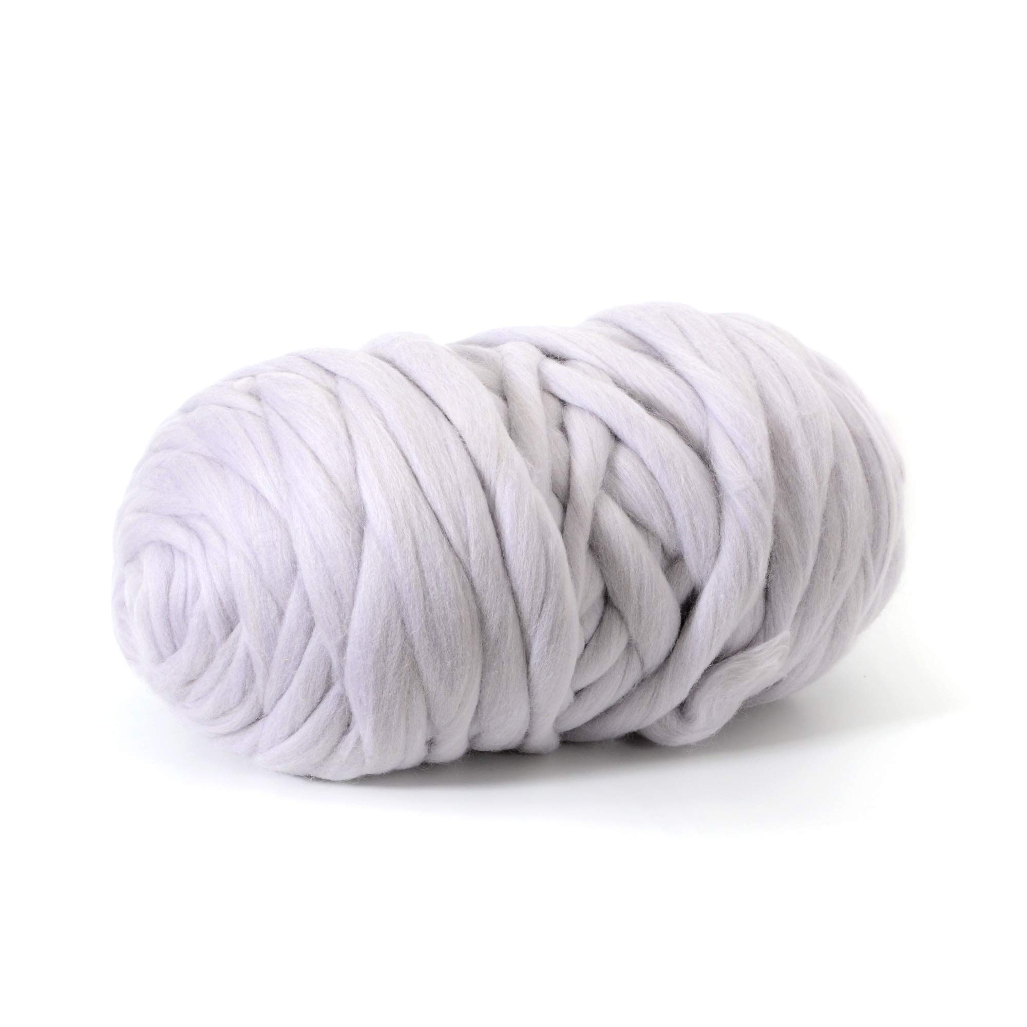 Glaciart One Chunky Merino Wool Yarn for Arm Knitting (5.5 Lbs) Jumbo Super Thick and Soft 100% Natural Lambs Roving Ball for Hand Weaving Giant Knit Stitch Blanket, Big Bulky Throw or Scarf
