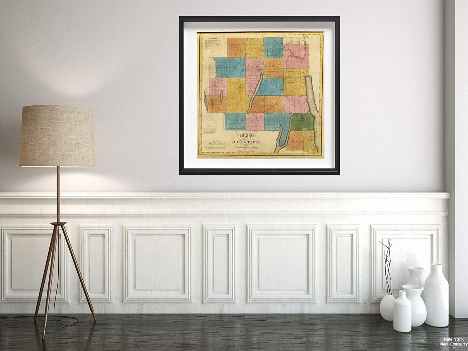1829 Map|State Atlas Ontario, Yates Counties|Vintage Fine Art Reproduction|Size: 24x24|Ready to Frame