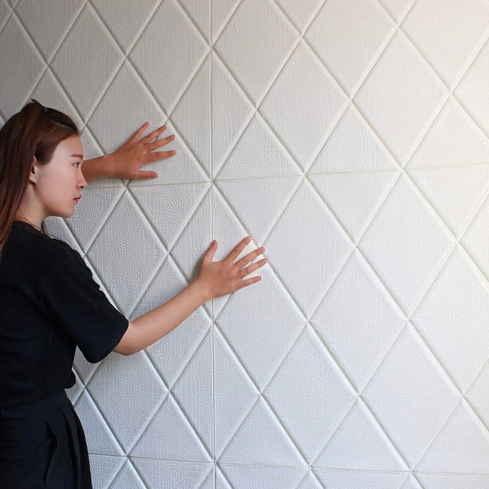 5, Gold 3D Wall Panel Crocodile Print PE Foam Self-Adhesive,Thickened Peel and Stick Tile backsplash Sound-Proof and Water-Proof