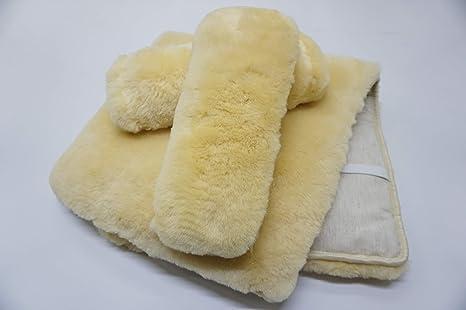 Amazon.com: Auténtica piel de oveja asiento y respaldo Cojín ...