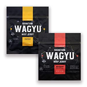 Signature Wagyu Beef Jerky - Variety 2 pack Two Ounce Bags - All Natural Gluten Free Protein Beef Snacks | 100% Australian Wagyu Beef, No Nitrates/Nitrites Added