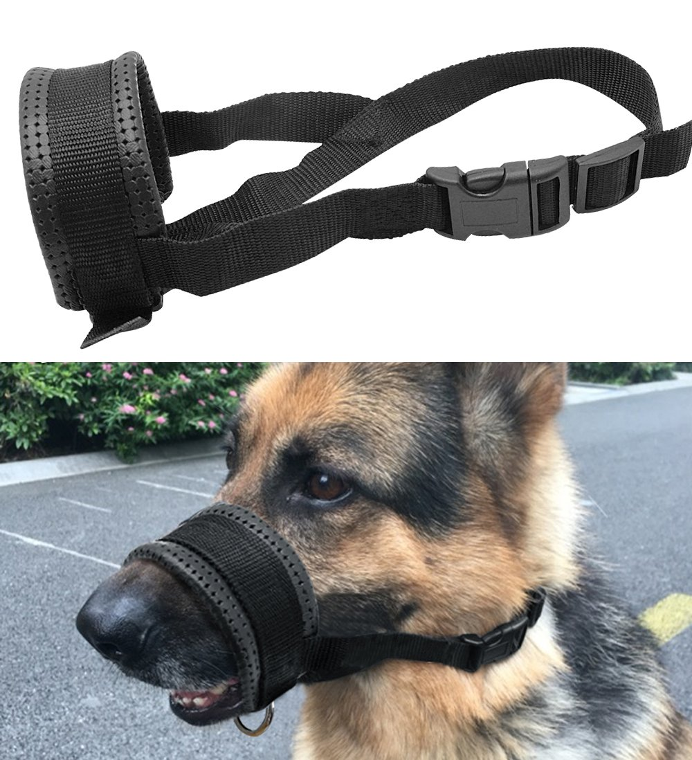 Mihqy Quick Fit Nylon Dog Muzzle - Nylon Adjustable Loop with Soft Padding Nylon – Prevent from Biting, Barking and Chewing - Perfect for Medium and Large Dogs, Black - XL