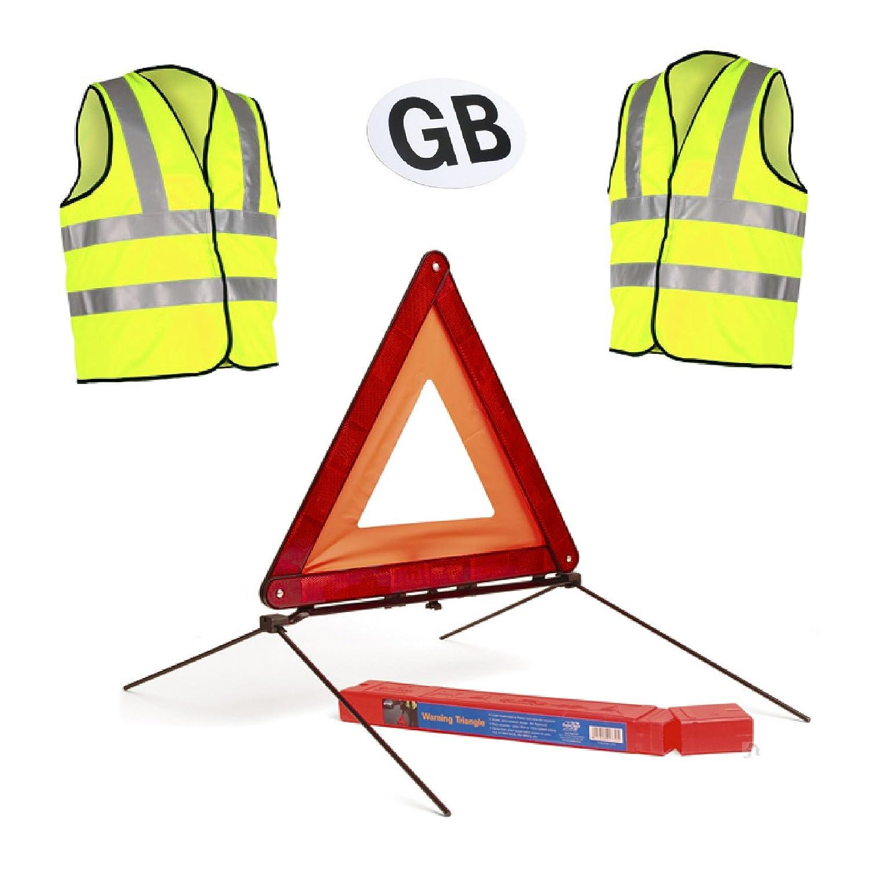 Magnetic Car GB Badge Large Reflective Warning Triangle Sign /& 2 Safety Vests