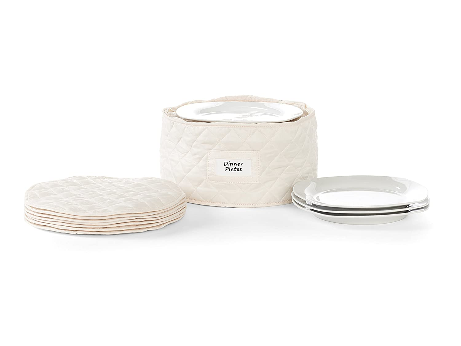 Cover Mates – Round Dinner Plates Storage 12 Diameter X 7 H – Diamond Collection – 2 Yr Warranty – Year Around Protection   Cream by Cover Mates