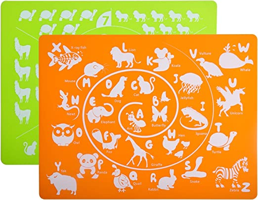 Flexible Dining Mat for Kids Baby Toddler Placemats for Kids Silicone Placemat Set for Dining Kitchen Table Waterproof Non Slip Washable Reusable Easy to Clean