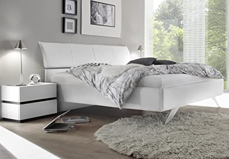 Letto Moderno Bianco.Arredocasagmb It Letto Matrimoniale Moderno Ecopelle Bianco Gambe Ferro Sospeso Camera Da Letto 160x195 Comi