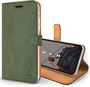 Snakehive Vintage Wallet for Apple iPhone Xs/iPhone X || Real Leather Wallet Phone Case || Genuine Leather with Viewing Stand & 3 Card Holder || Flip Folio Cover with Card Slot (Dark Green)