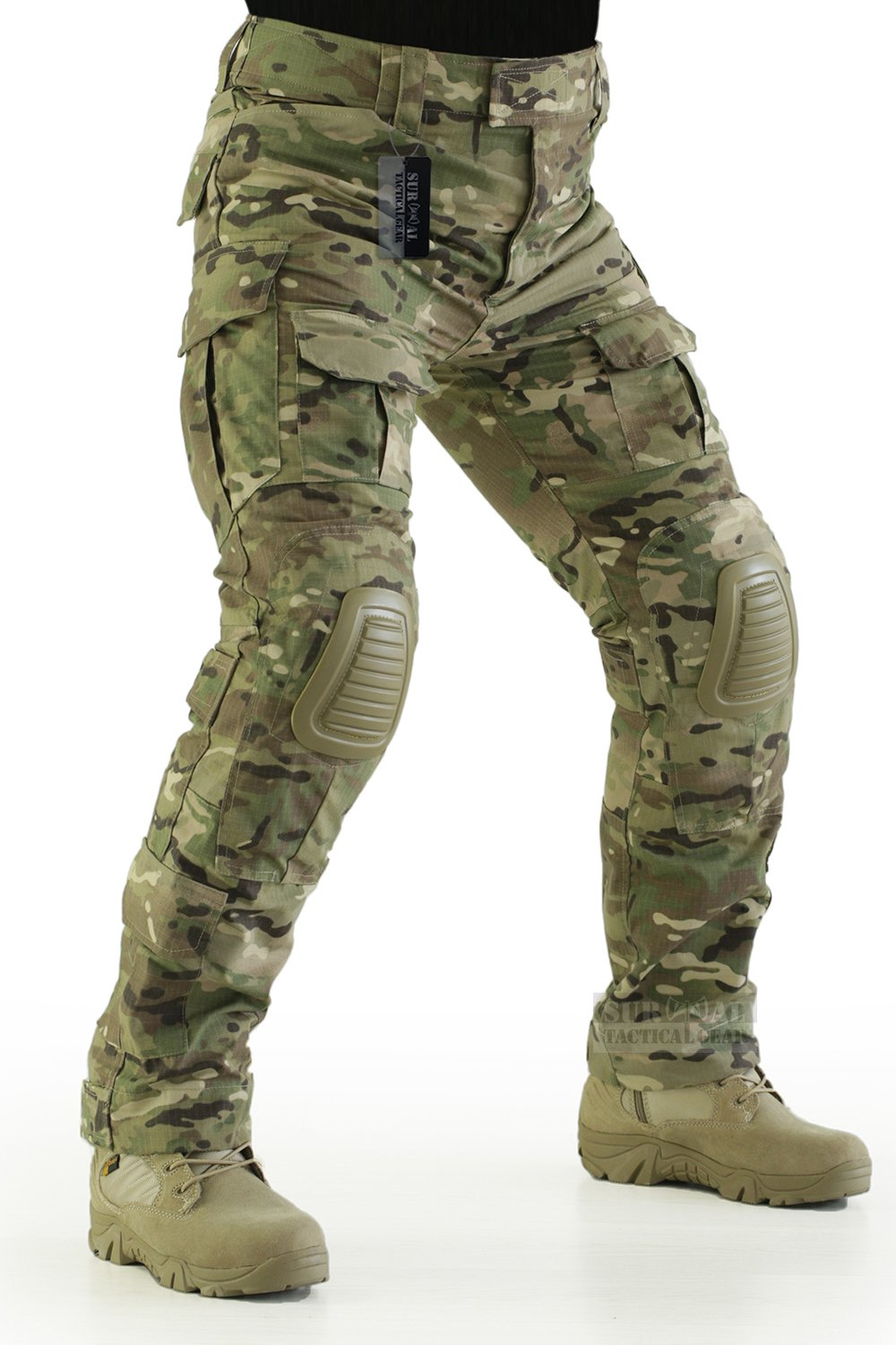 ZAPT Tactical Pants with Knee Pads Airsoft Camping Hiking Hunting BDU Ripstop Combat Pants 13 Kinds Army Camo Uniform Military Trousers (Multicam, L36) by ZAPT