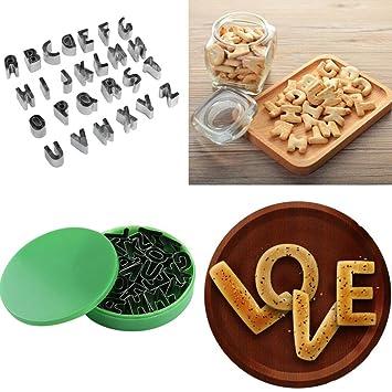 Molde para galletas de SOMESUN para cortar tartas, 26 piezas, molde de galletas para tartas, molde de forma de alfabeto para fondant, galletas A: Amazon.es: ...