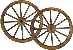 Westcharm Steel-Rimmed Wooden Wagon Wheels (24 in, Brown)