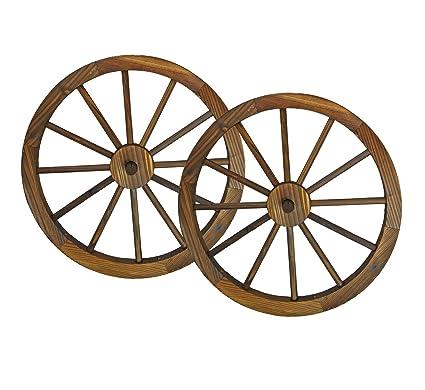 24 Wooden Wagon Wheels Steel Rimmed Wooden Wagon Wheels Set Of Two Product Sku Pl50019