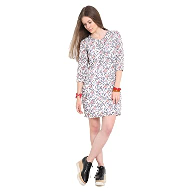 383648ac09e Hope and Luck Off White Multi 3 4 Sleeve Round Neck Printed Dress   Amazon.in  Clothing   Accessories