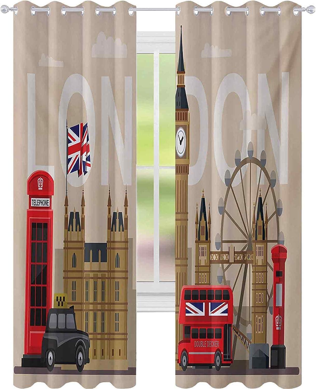 cortinas de dormitorio, Famoso Gran Bretaña Puntos de Interés Monumentos Colección Turístico Destino, W52 x L84 Habitación Oscurecimiento Cortinas para la Sala, Multicolor