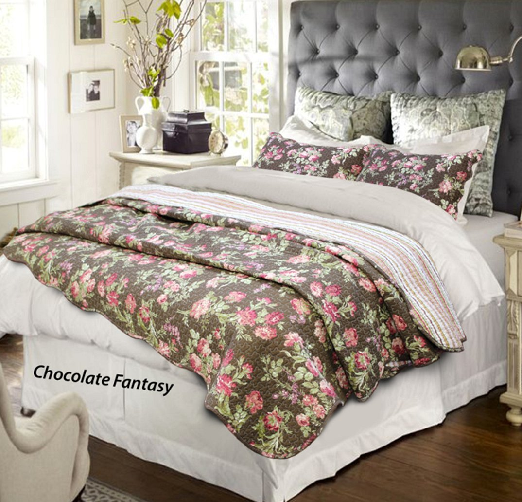 Cozy Line Home Fashions Vanessa Floral Brown Fuchsia Pink Red Flower Print Pattern 3-piece Quilt Bedding Set, 100% COTTON Reversible Coverlet, Bedspread, Gift for Women(Brown Floral, Queen - 3 piece)