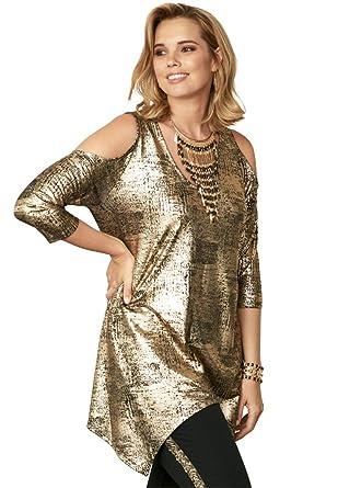 866cffe2b8d6e0 Roamans Women s Plus Size Metallic Cold Shoulder Tunic - Gold Metallic