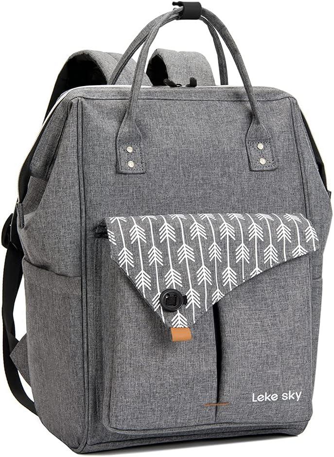 Lekesky Laptop Backpack for Women Fashion Travel Backpack Business Computer Work Bag 15.6 Inch, Grey