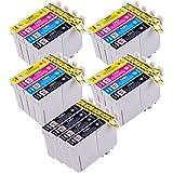 20 Cartouches d'encre Epson compatible T1285 pour Epson Stylus S22 SX125 SX130 SX420W SX425W SX445W BX305F BX305FW SX230 SX235W SX445W SX435W SX430W SX438W SX440W imprimante. 8x T1281 Noir, 4x T1282 Cyan, 4x T1283 Magenta, 4x T1284 jaune