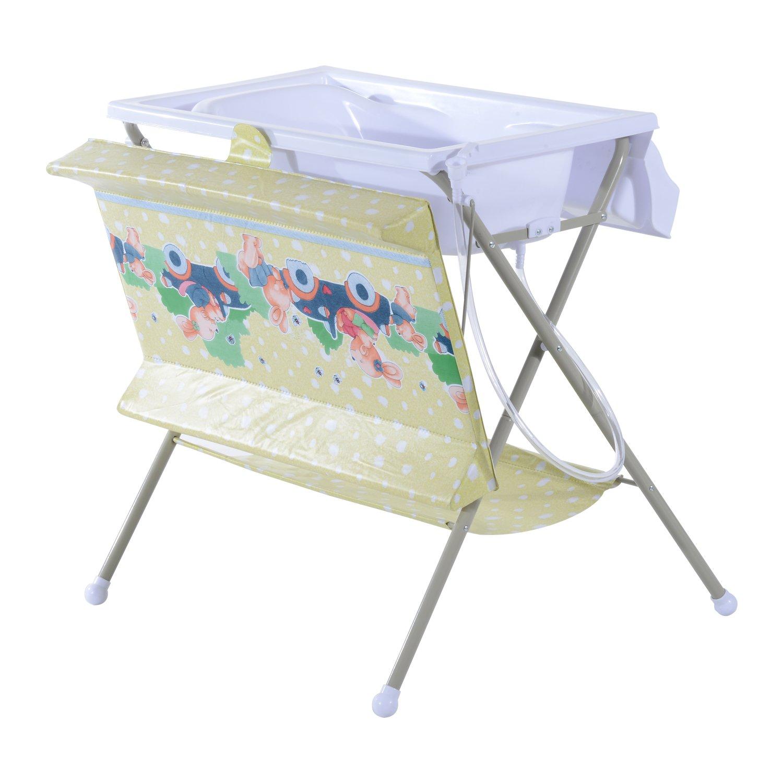 HOMCOM Baby Changing Table Baby Storage Bath Tub Unit Station Dresser Foldable Cross Leg Style Beige