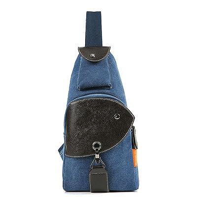 SYJO Mini Backpack Casual Canvas Chest Bag Sling Shoulder Bag Rucksack
