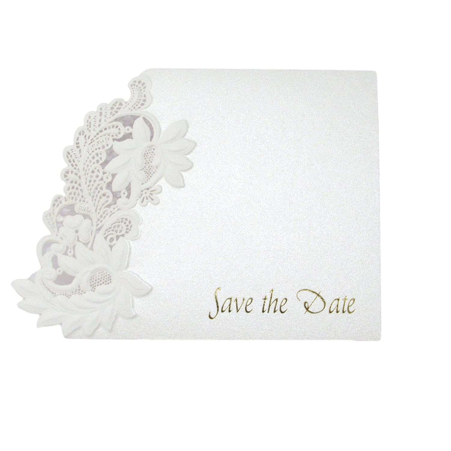 RSVP x 10 Ivory Floral Embossed Laser Cut Wedding Invitations Pockets and Stationery Beautiful Design