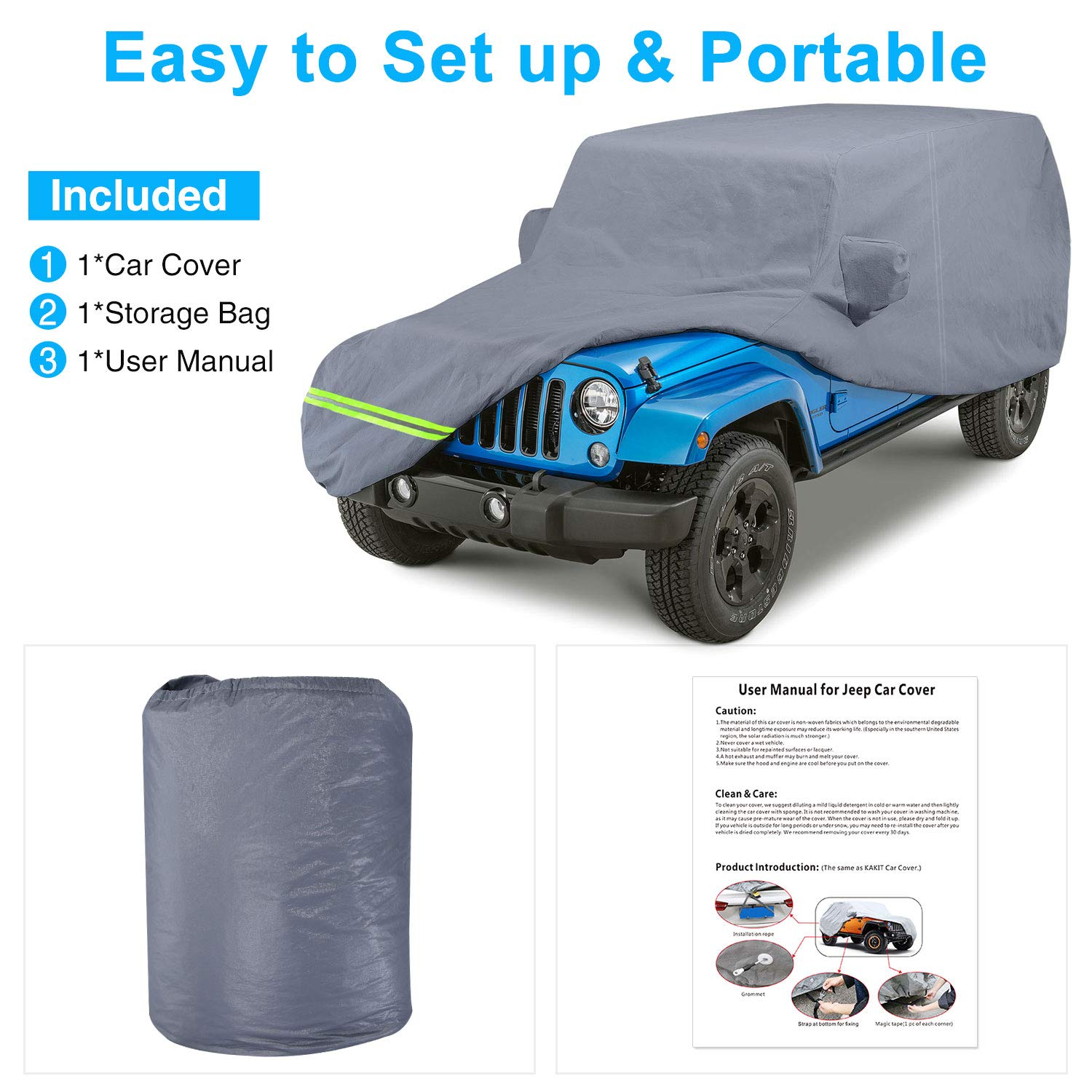 KAKIT Storm-Proof Jeep Wrangler Cover 6 Layers Jeep Car Covers ...