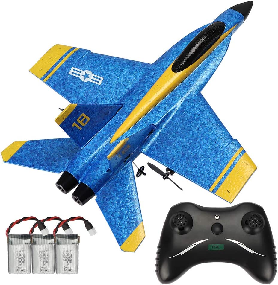 RC Plane Remote Control Airplane Ready to Fly, 2.4GHZ 2 Channel RTF RC Glider Easy to Fly for Kids Beginners and Adults (3 Batteries)