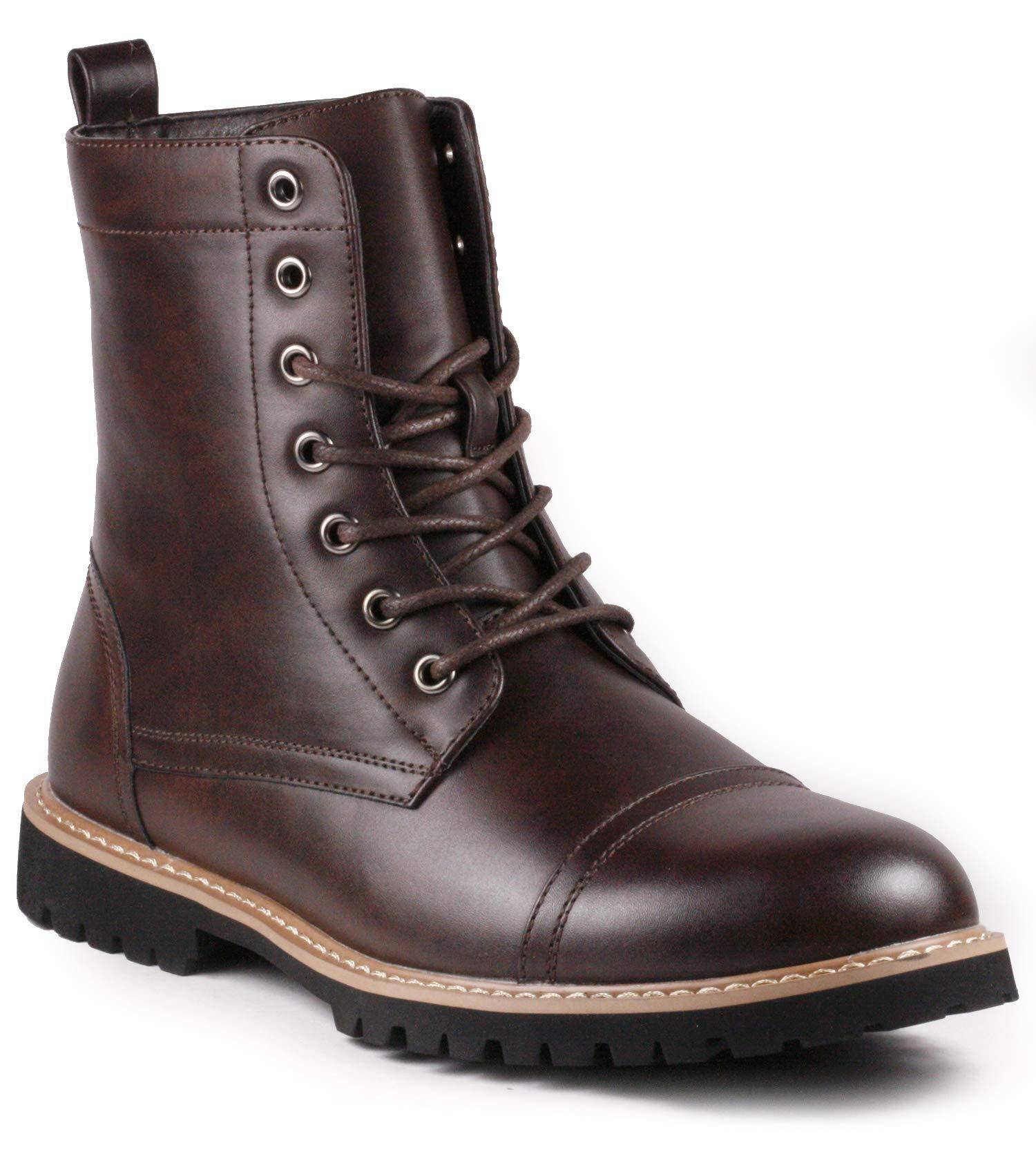 Metrocharm MC312 Men's Lace Up Cap Toe Fashion Oxford Boot (10.5, Brown) by Metrocharm
