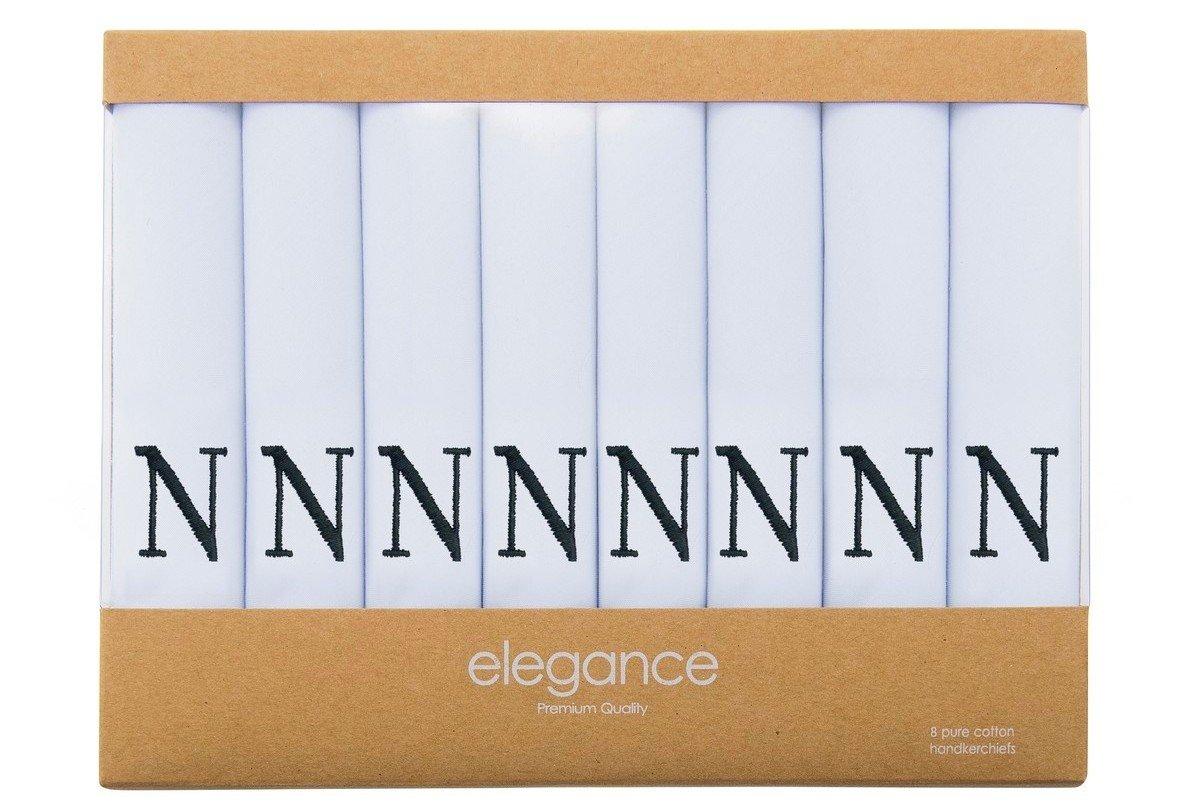 Retreez 8 Piece Pure Cotton Initial Monogrammed Men's Handkerchiefs Hanky Gift Box Set, Christmas gift - Set N Initial