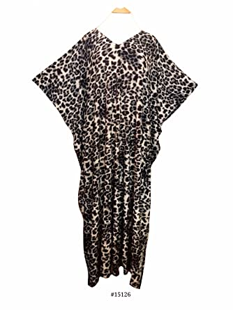 4042939df3 Ladies Silver Grey Leopard Print Viscose Super Soft Knit Long Kaftan Casual  Dress (Satin Label). One size fit UK 10-32  Amazon.co.uk  Clothing