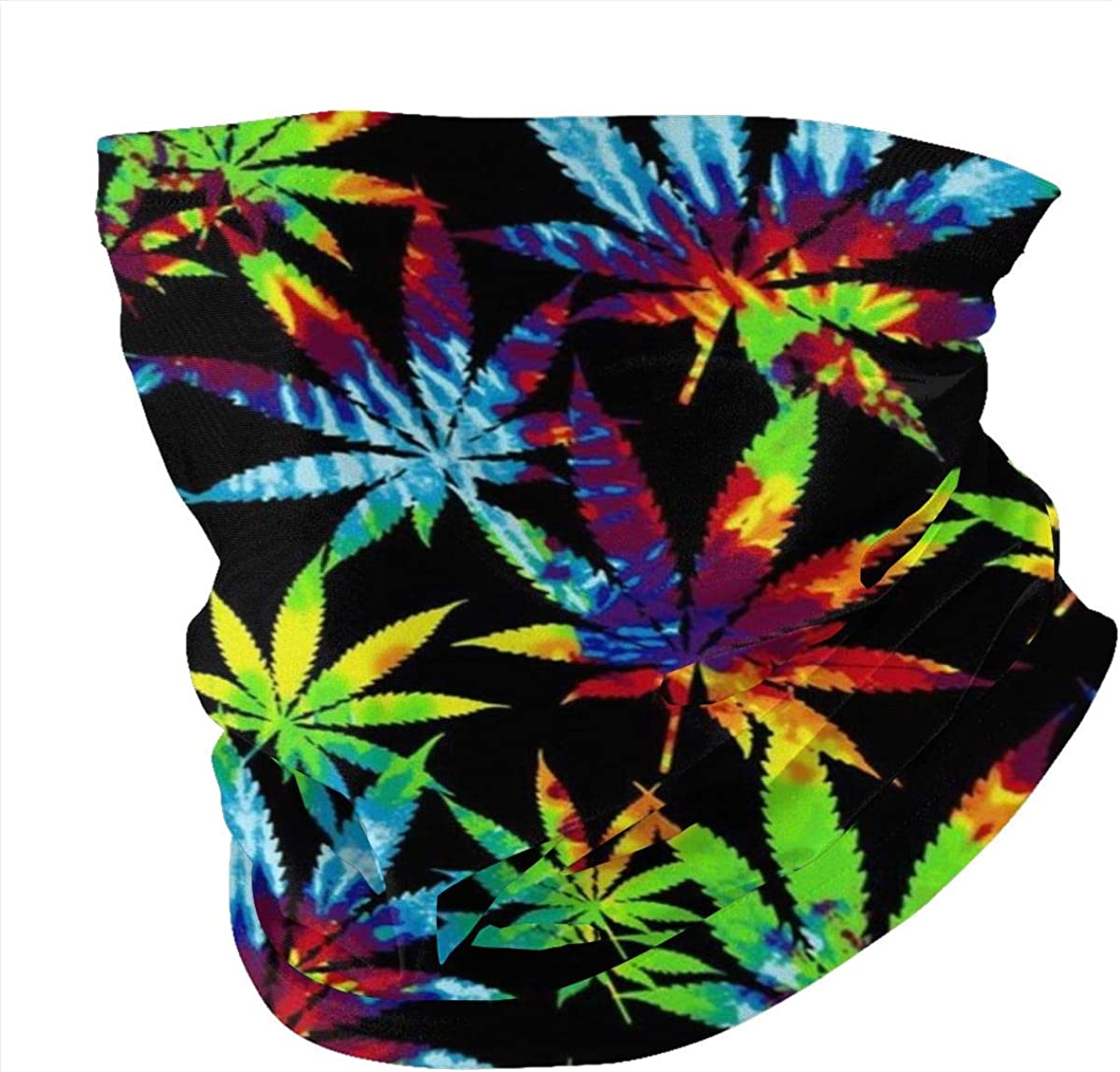 Tie Dye Weed Leaves Bandana Headband Face Mask with Filters Neck Gaiter Scarf for Dust UV Sun Magic Headwear Outdoors