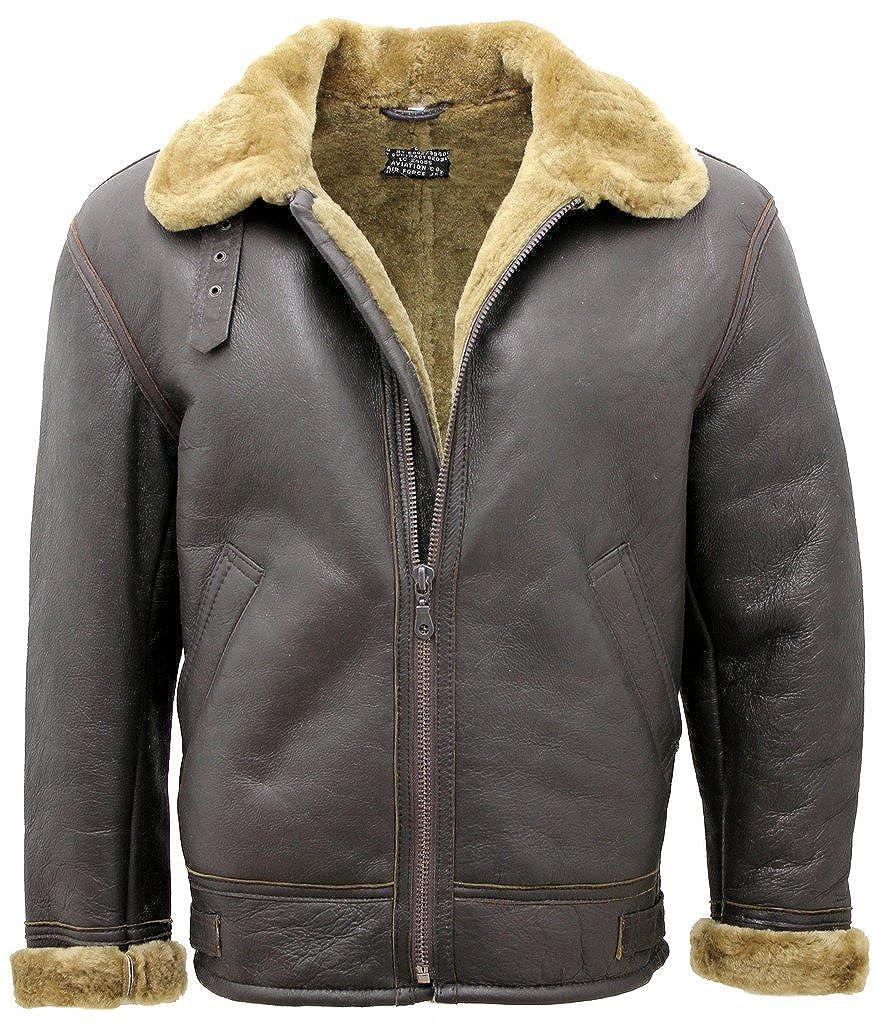 Infinity Mens Ginger B3 Shearling Sheepskin World War 2 Bomber Leather Flying Jacket