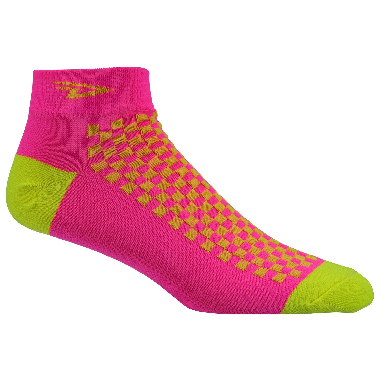 Medium Defeet Speede Socks Hi-Vis Pink//Hi-Vis Yellow