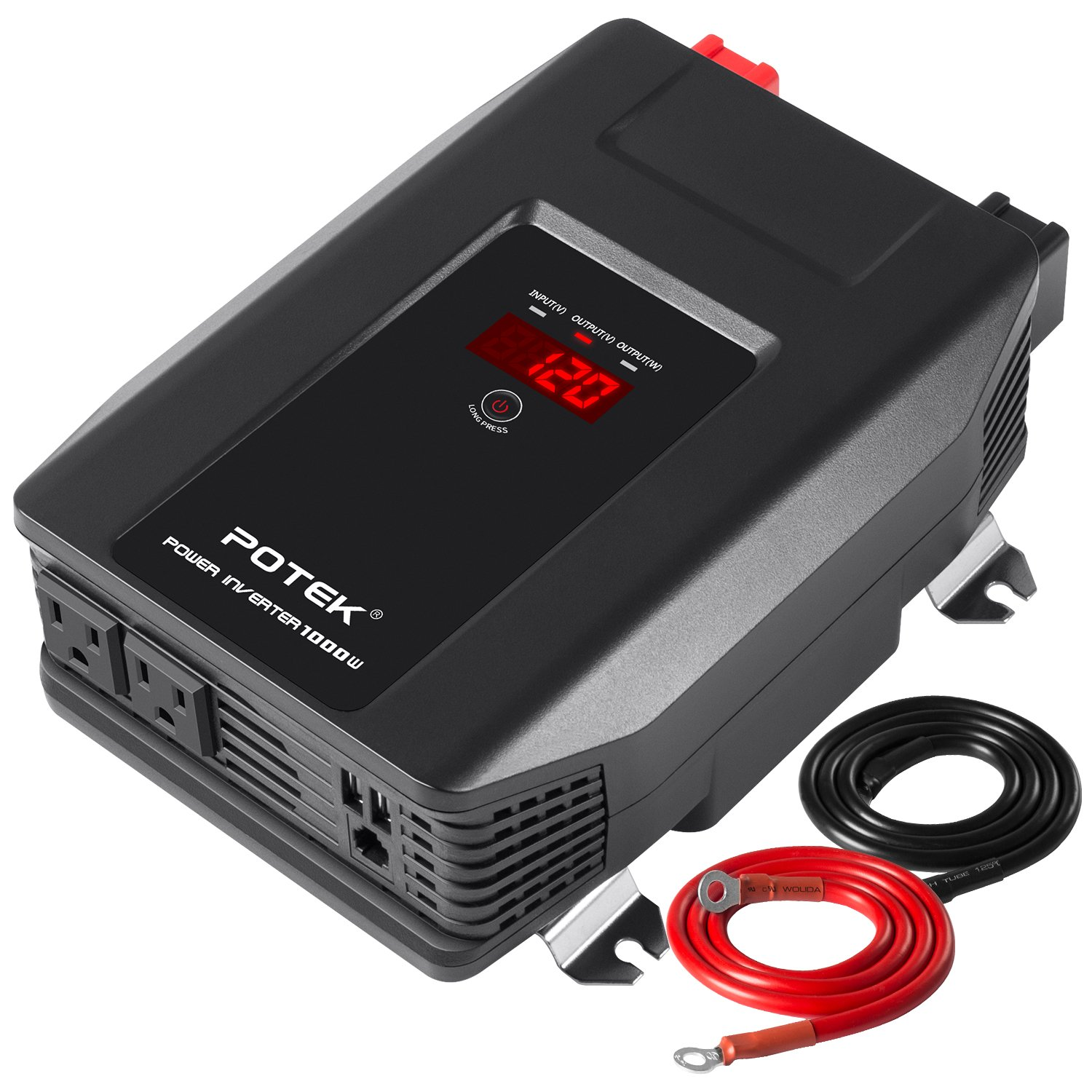 POTEK 1000W Power Inverter Dual AC Outlets and Dual USB Charging Ports DC 12V to AC 110V Car Converter with Digital Display for Blenders,vacuums, Power Tools